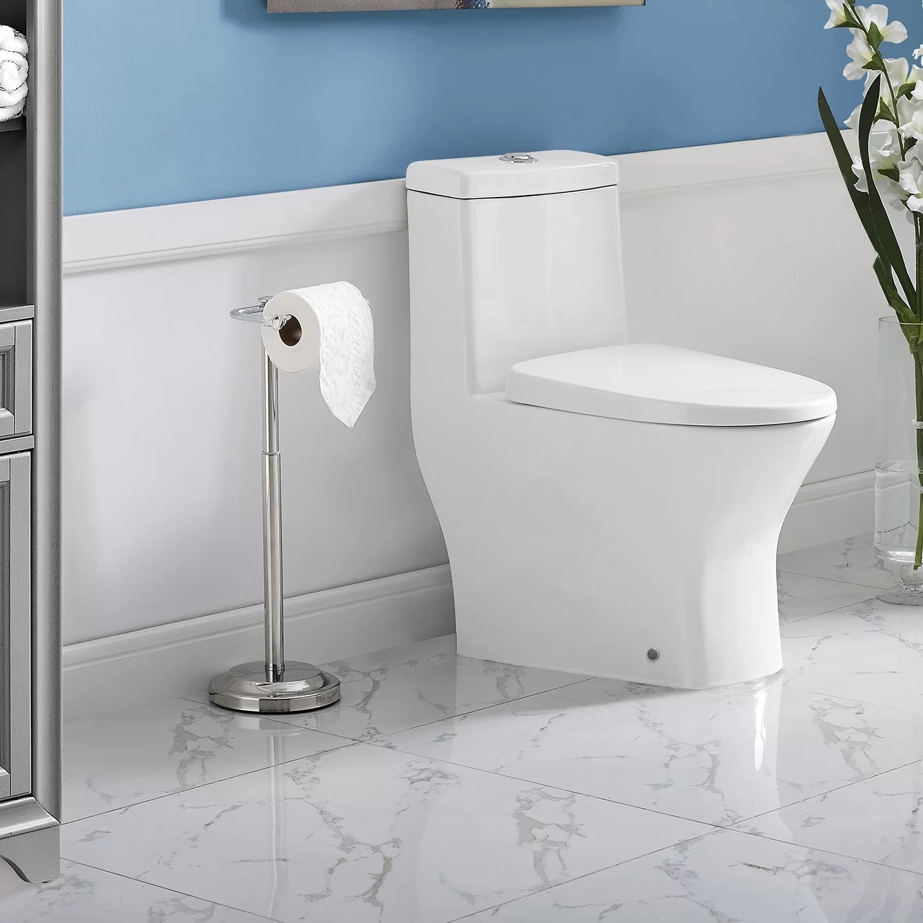 10 Inch Rough In Toilet Canada Sublime Ii Compact Dual Flush Long Floor Mount Toilet With Side Holes Seat Included
