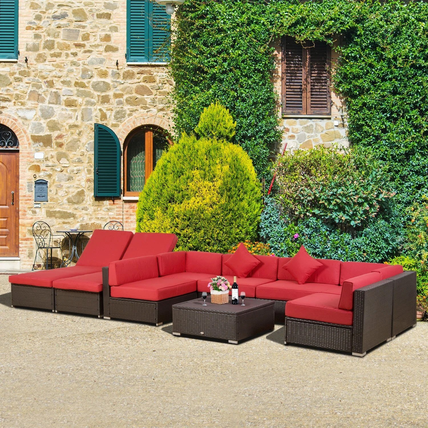 Urban Sofa Barneveld Trudell 9 Piece Rattan Sectional Seating Group Set With Cushions