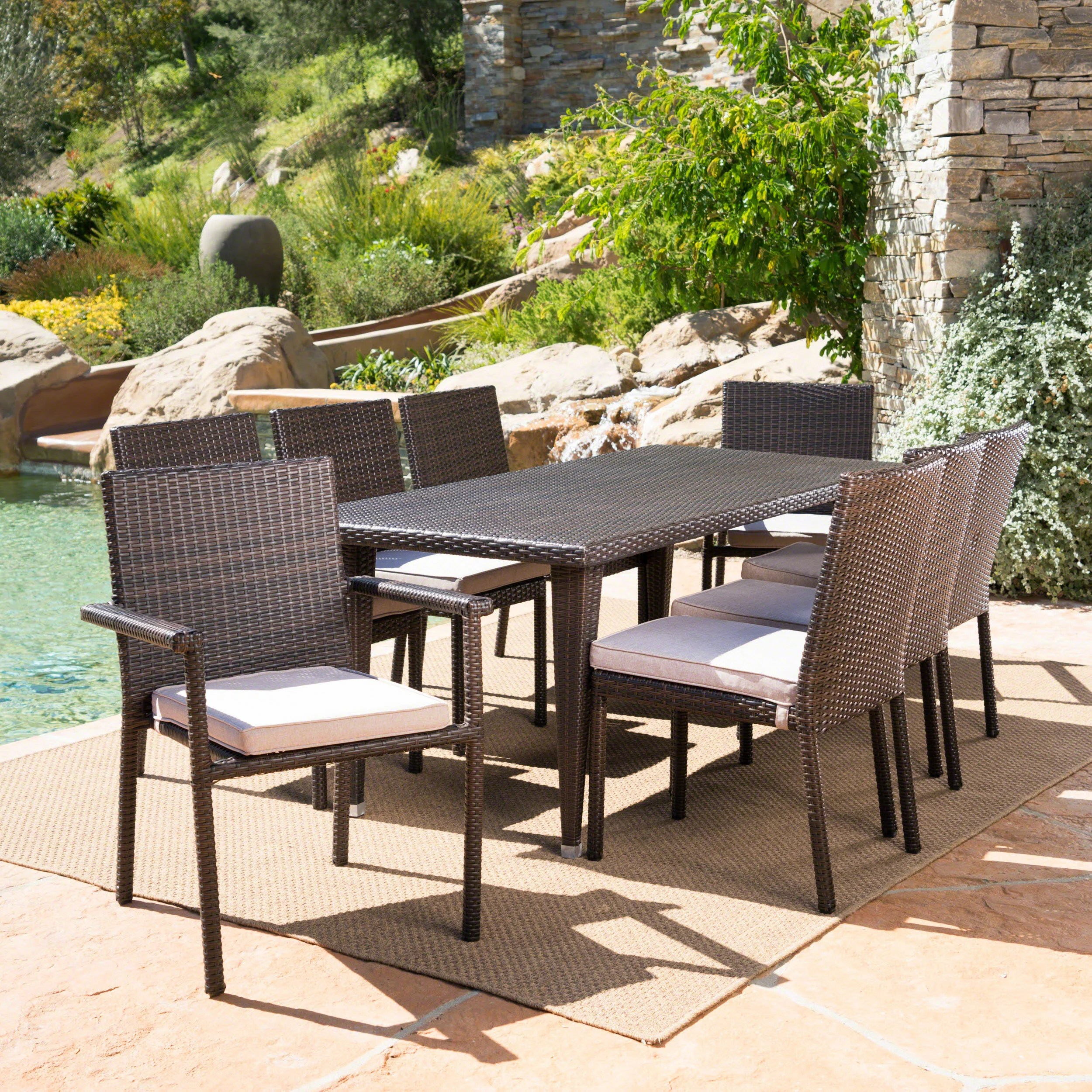 9 Piece Outdoor Dining Set Renea Outdoor 9 Piece Dining Set With Cushions