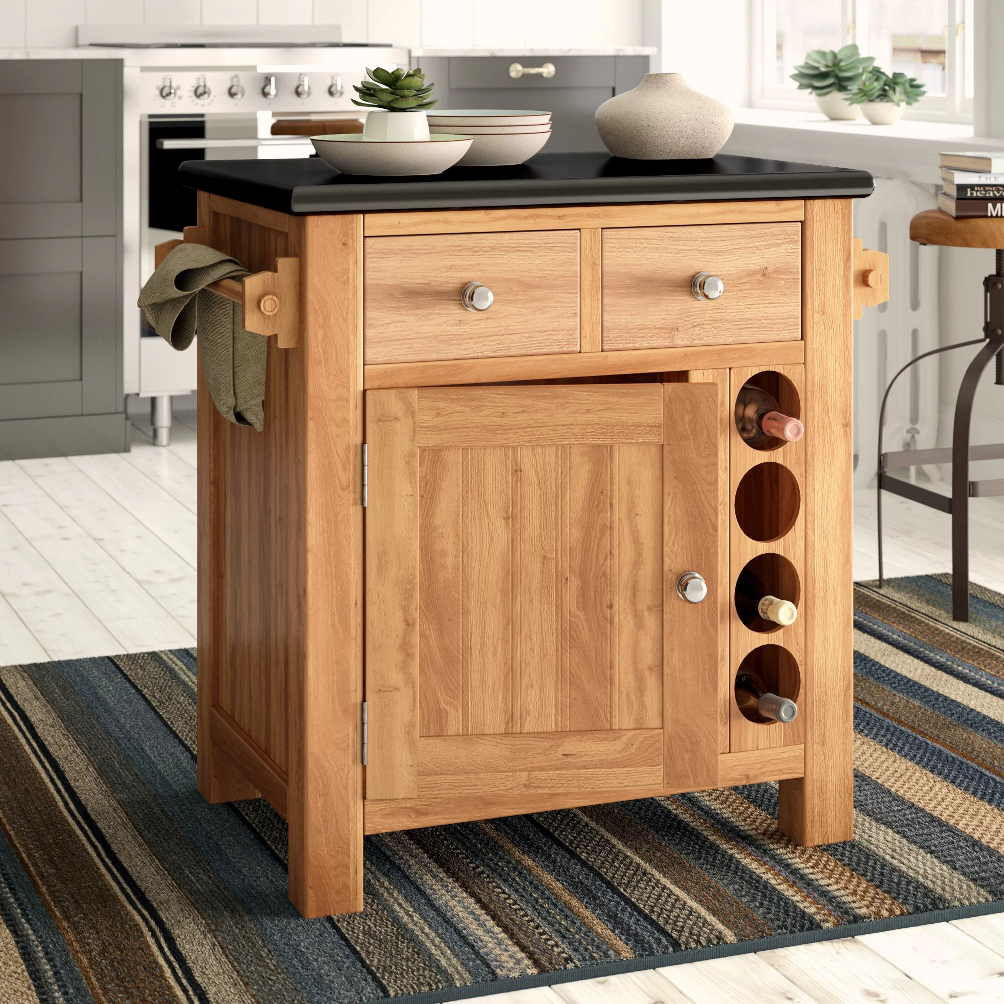 Kücheninsel Country Creamer Kitchen Island With Granite Top