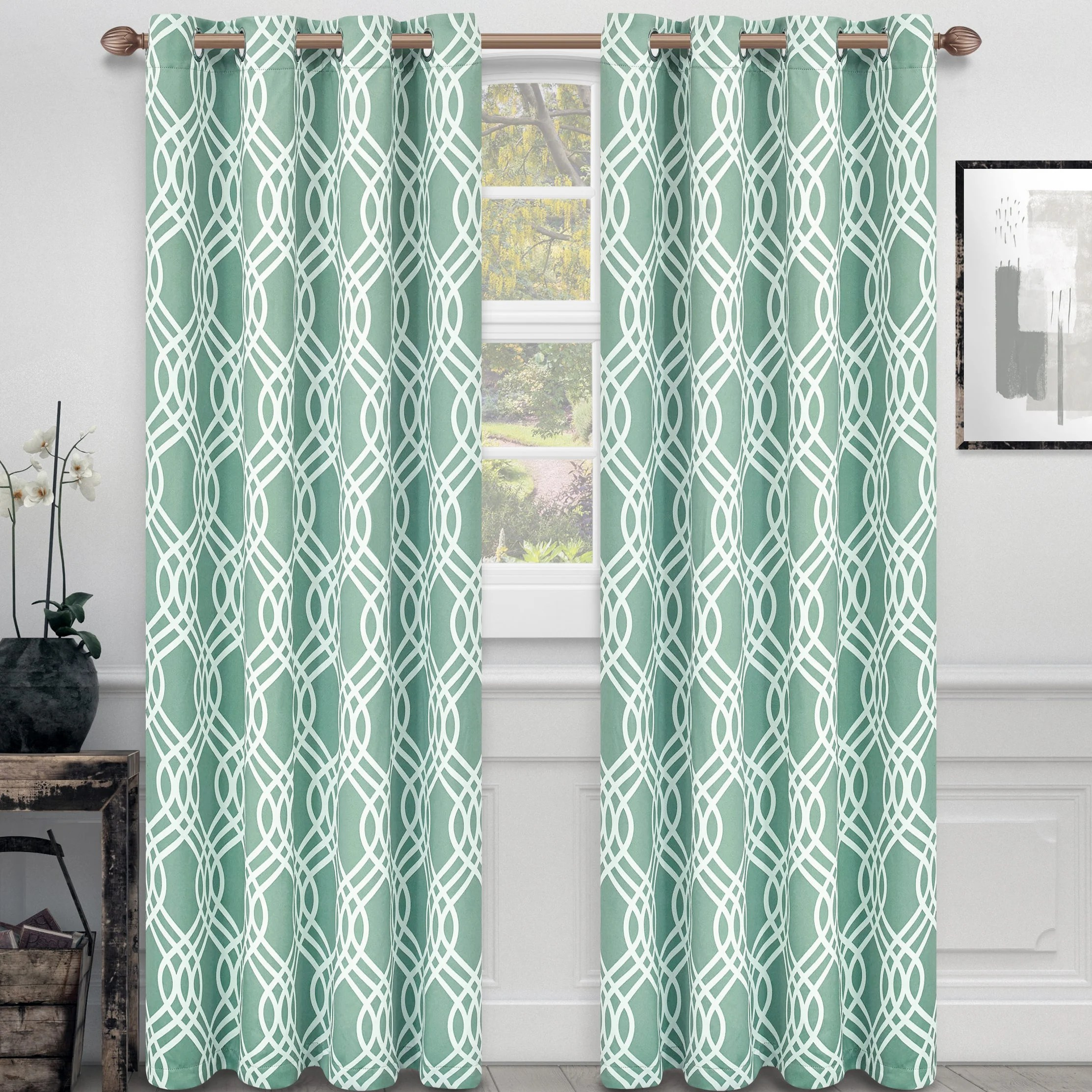 Teal Blackout Curtains Kinlaw Geometric Blackout Thermal Grommet Curtain Panels