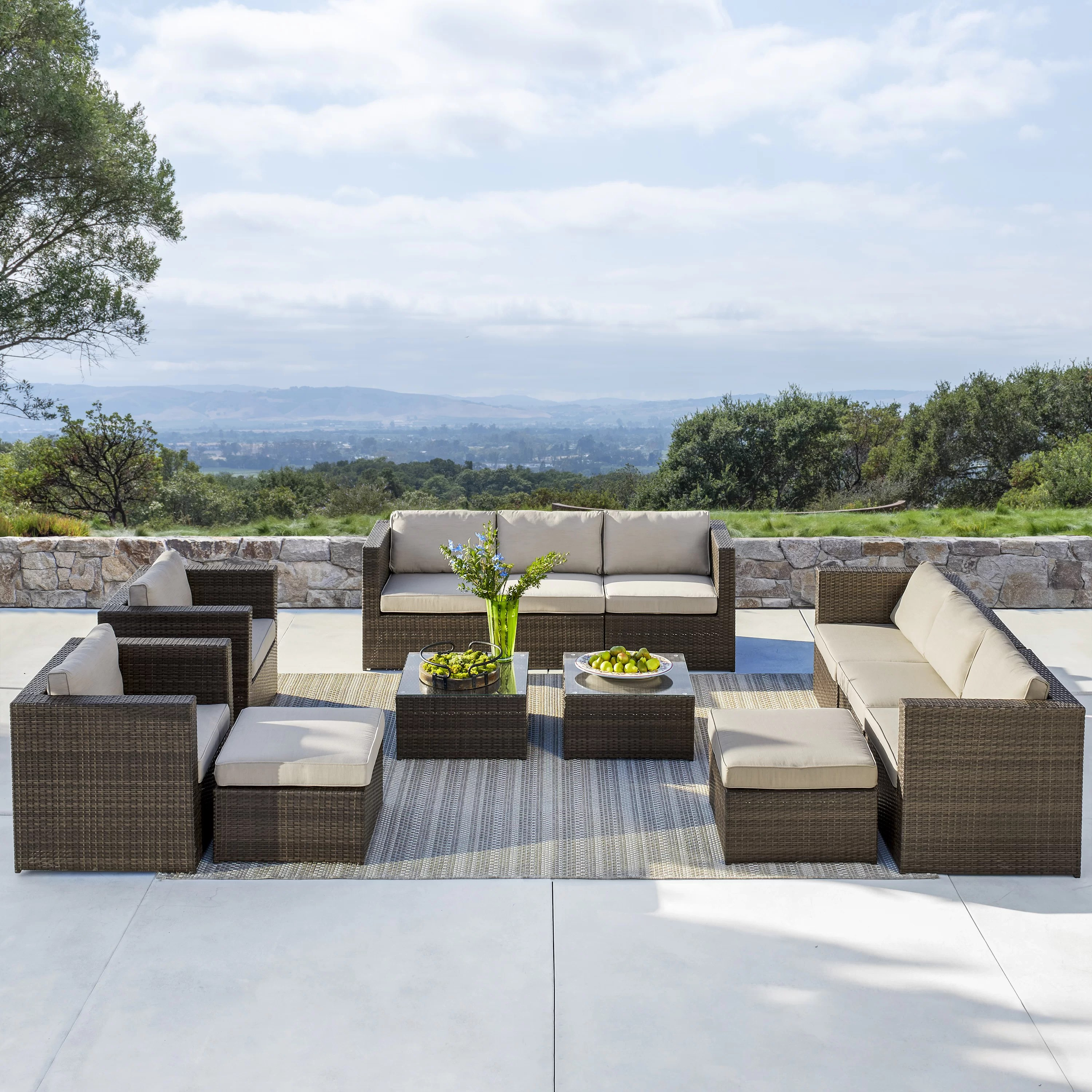 Baptist 6 Piece Rattan Sofa Set With Cushions Eastbrook 12 Piece Rattan Sectional Seating Group With Cushions