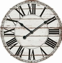 "Oversized Rustic Wood 24"" Wall Clock & Reviews | Birch Lane"