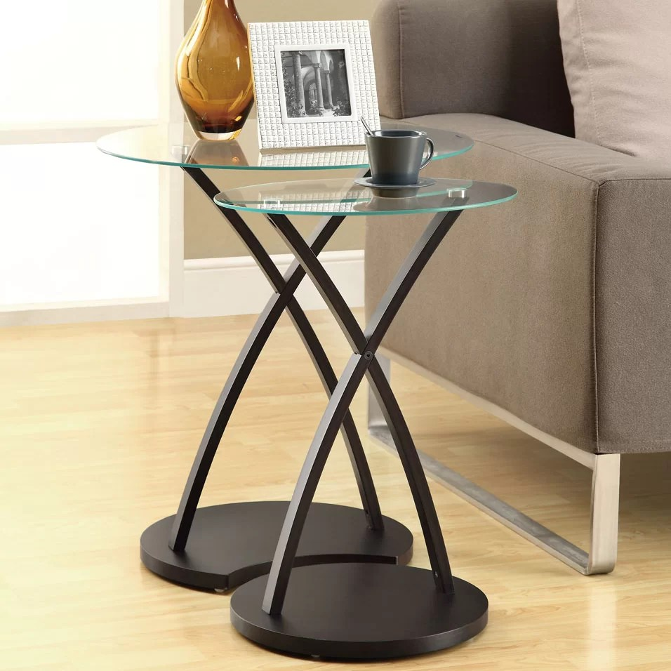 Glass Nesting Tables 2 Piece Nesting Tables