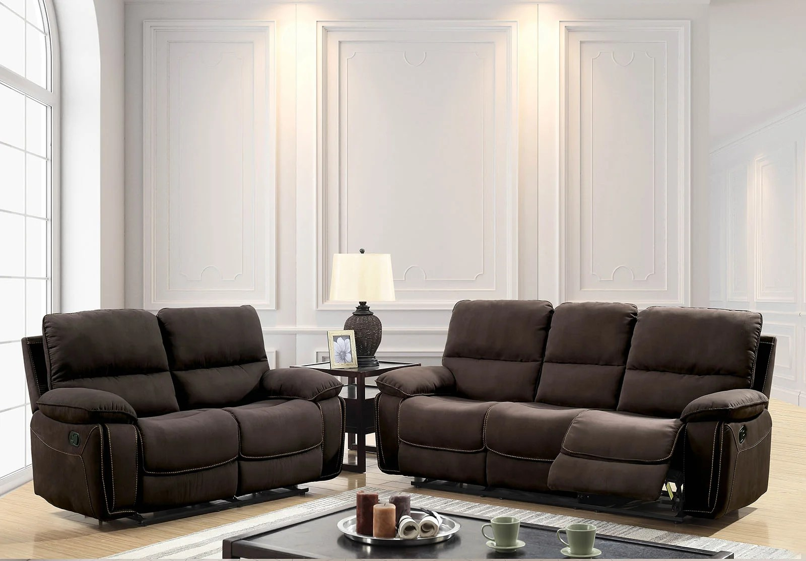 Contemporary Living Set Hellwig Contemporary Manual Wall Hugger Configurable Living Room Set