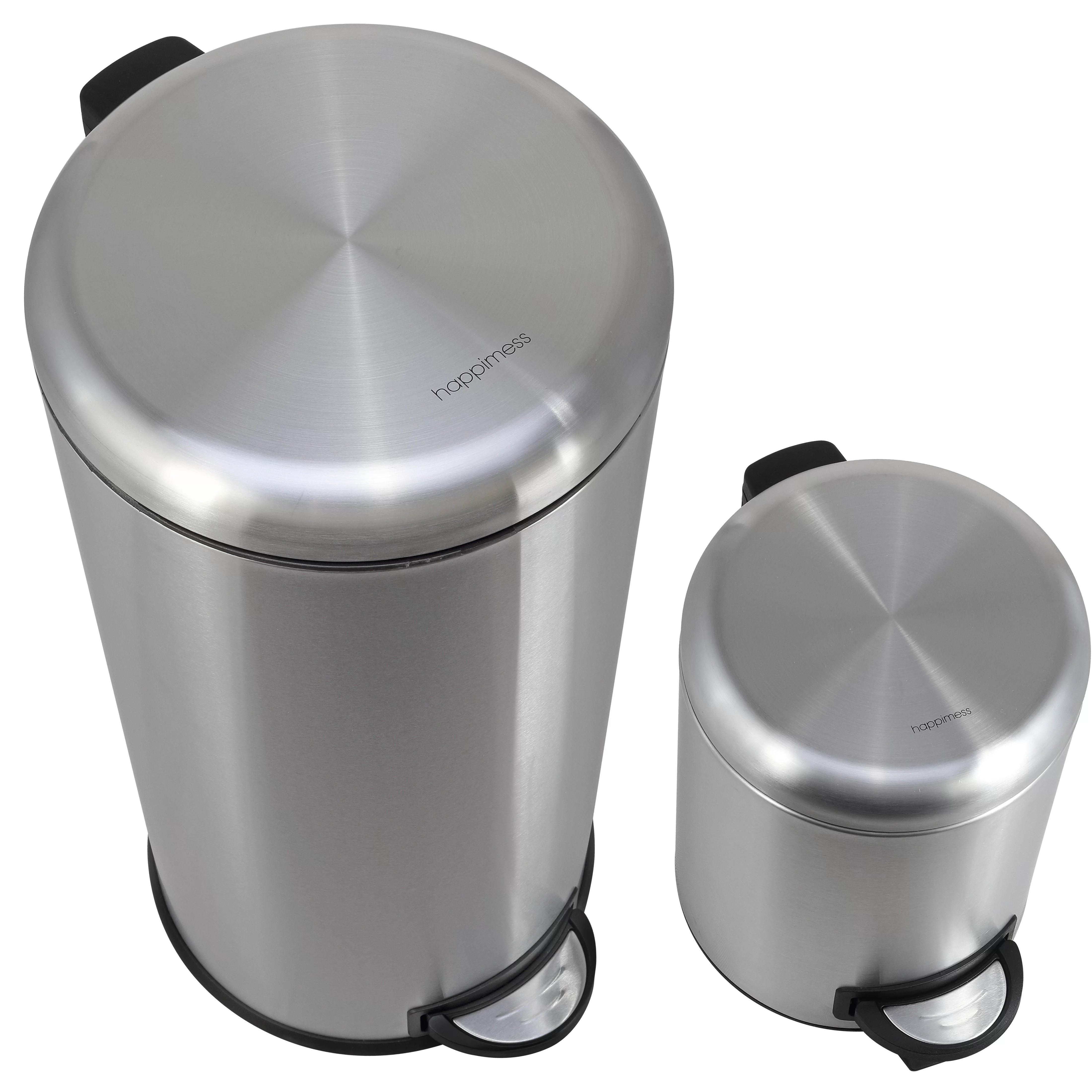 Small White Trash Can With Lid Oscar Stainless Steel 8 Gallon Step On Trash Can