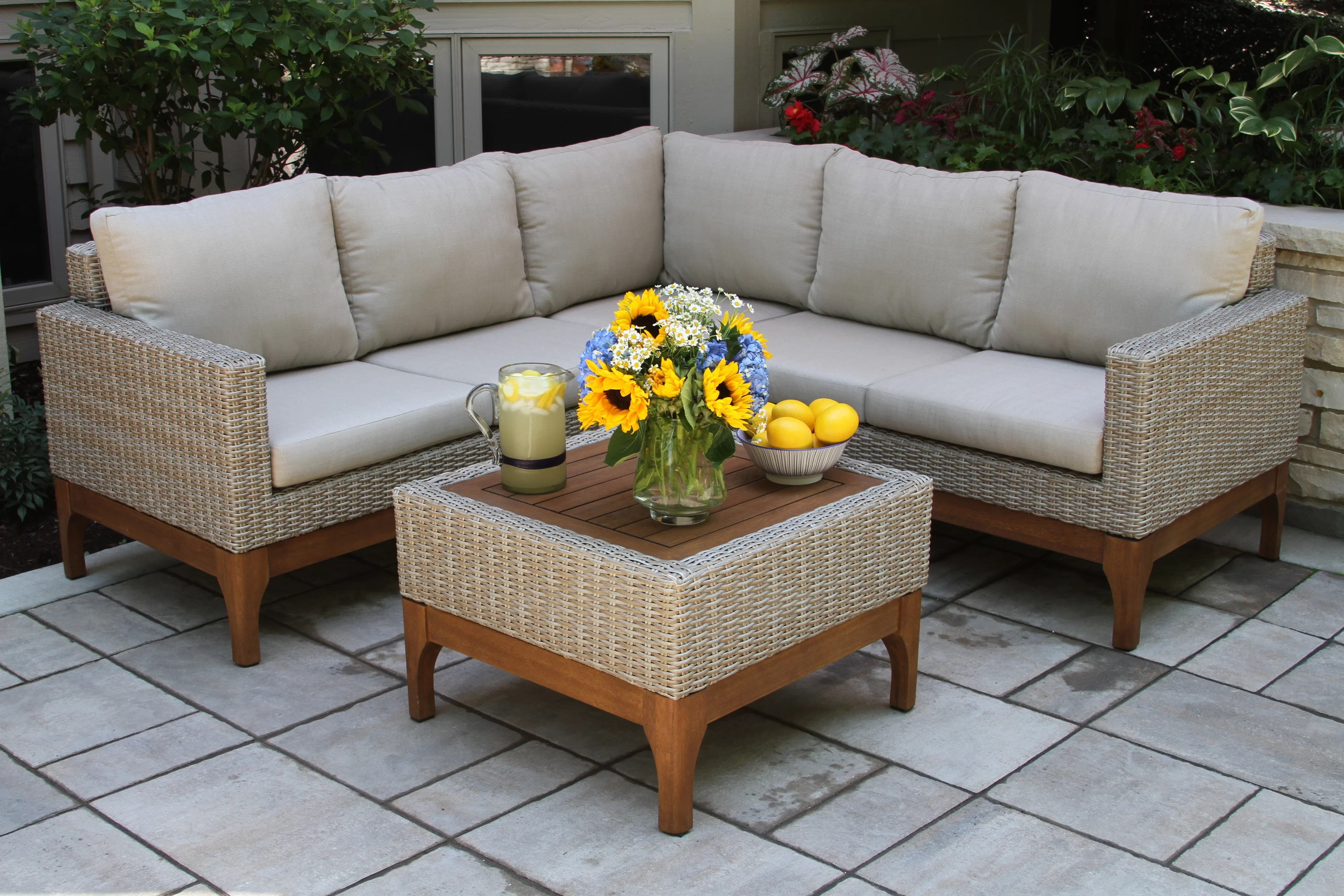 Baptist 6 Piece Rattan Sofa Set With Cushions Beachcrest Home Mallie 4 Piece Sectional Set With Cushions