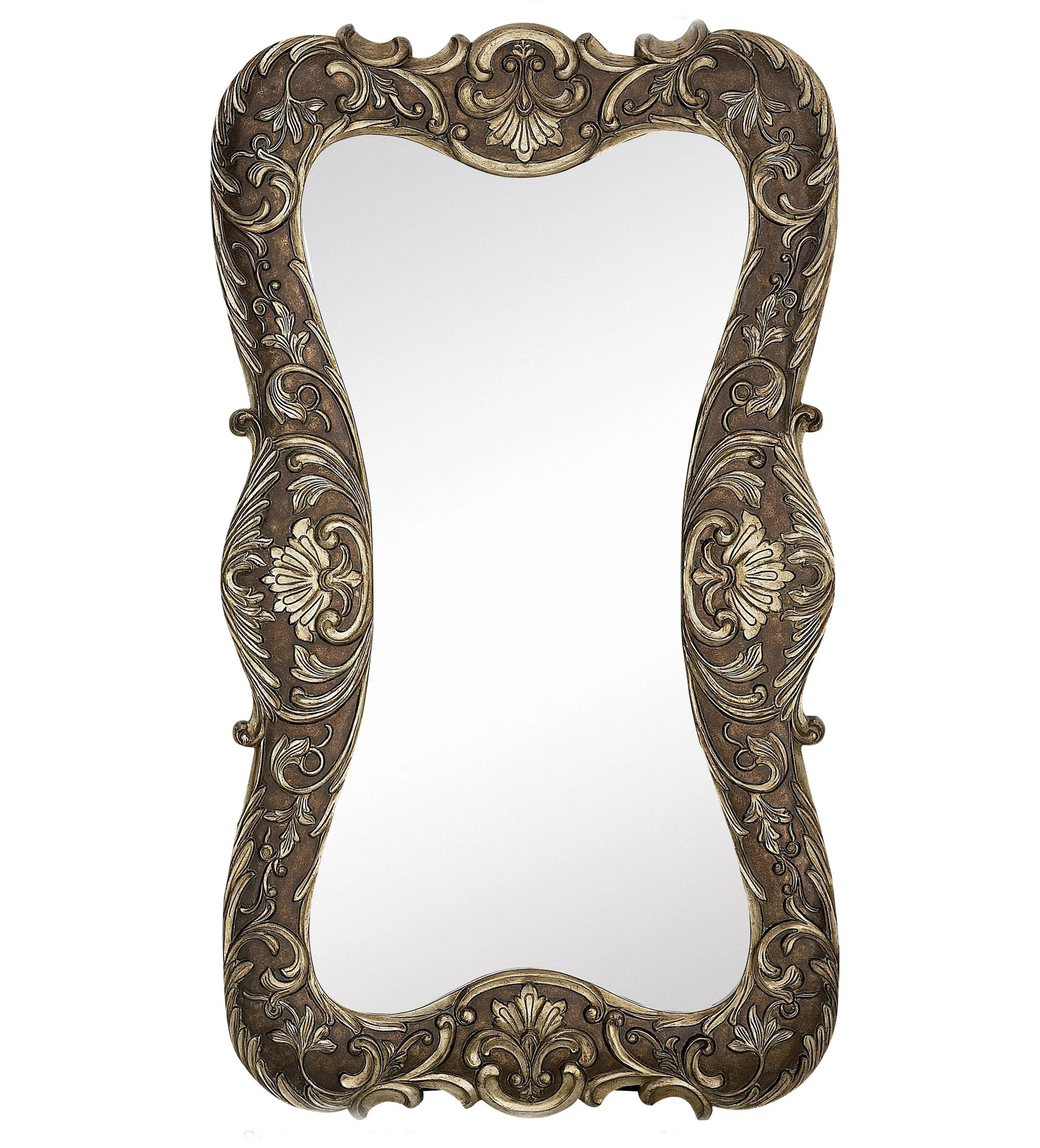 Huge Mirror Large Curvy Silver With Dark Wash Traditional Hanging Wall Mirror
