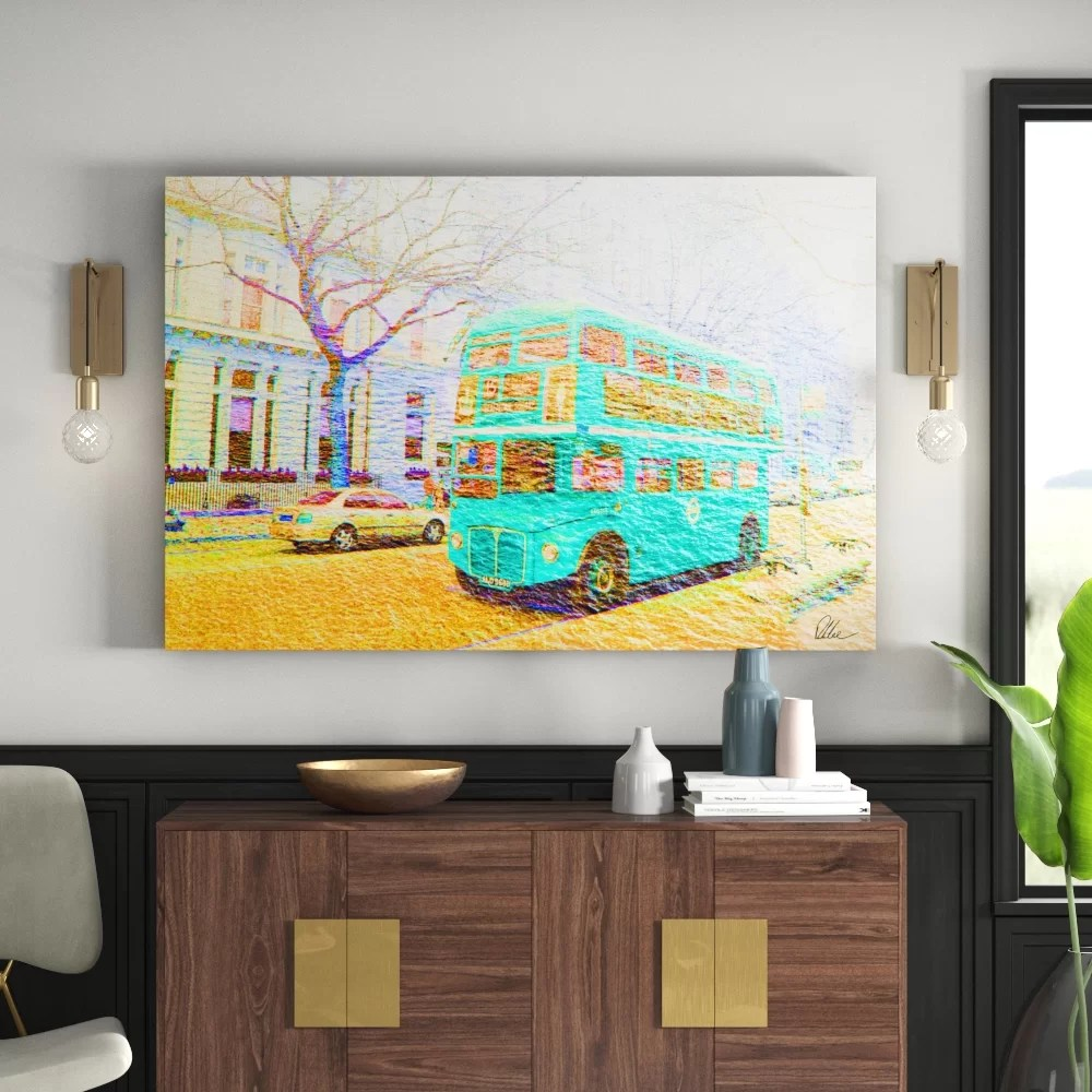 3d Fototapete London London Bus Green Front Graphic Art On Canvas