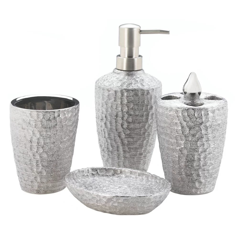 Bathroom Dispenser Set Wanda Hammered 4 Piece Bathroom Accessory Set