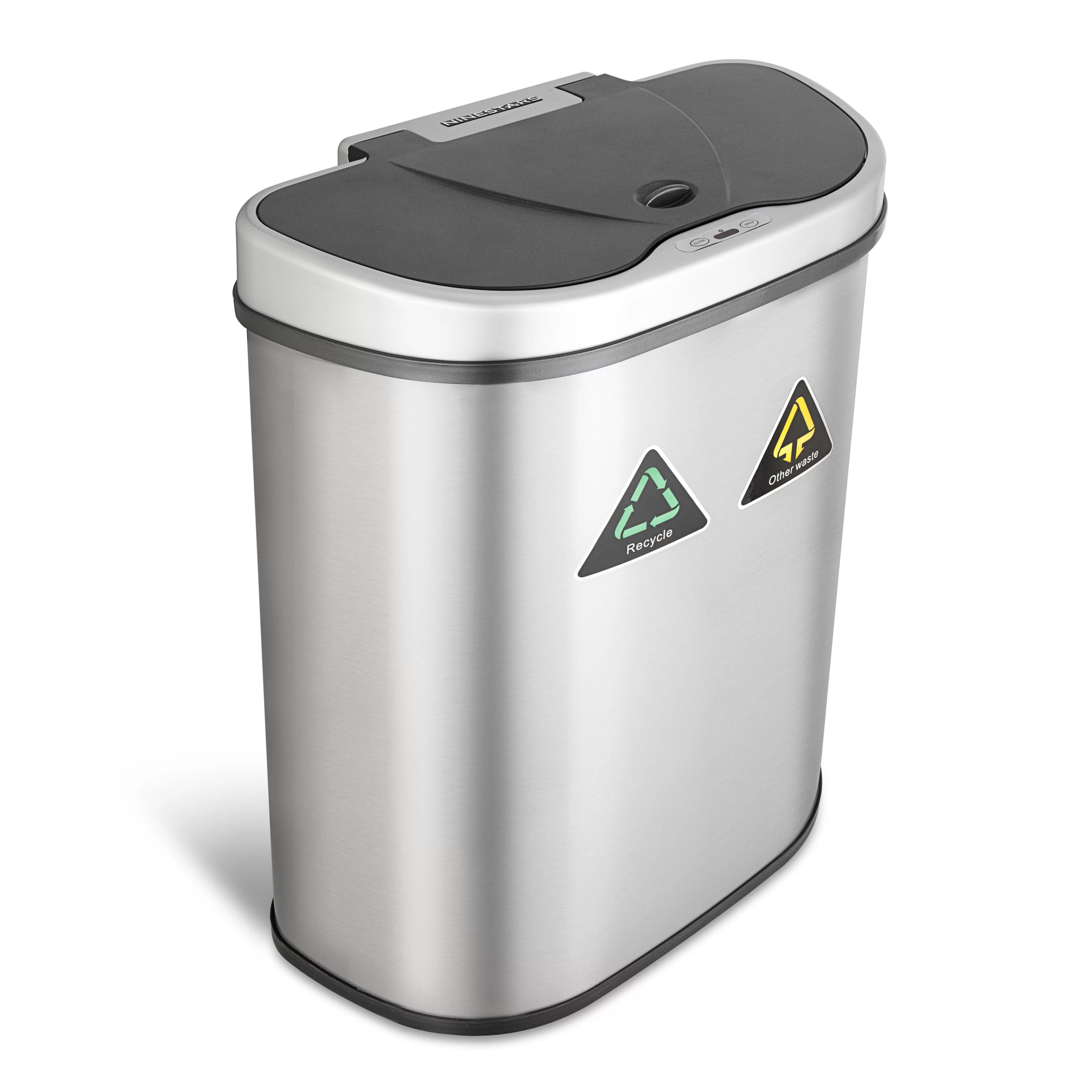 Stainless Steel Recycling Bins Nine Stars Steel 18 5 Gallon Motion Sensor Multi Compartments Trash Recycling Bin
