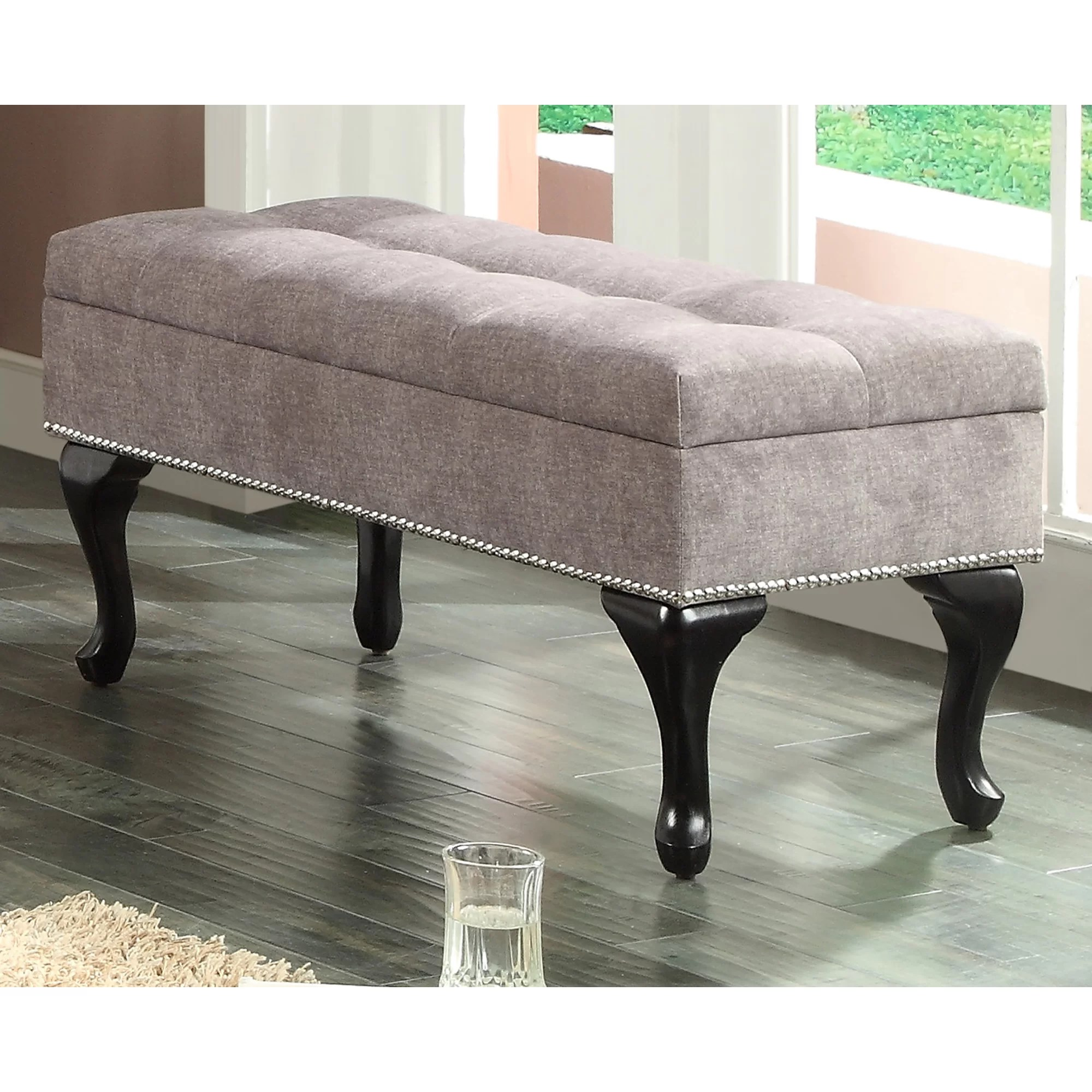 Storage Bench Toronto Worldwide Homefurnishings Fabric Storage Bench With Stud