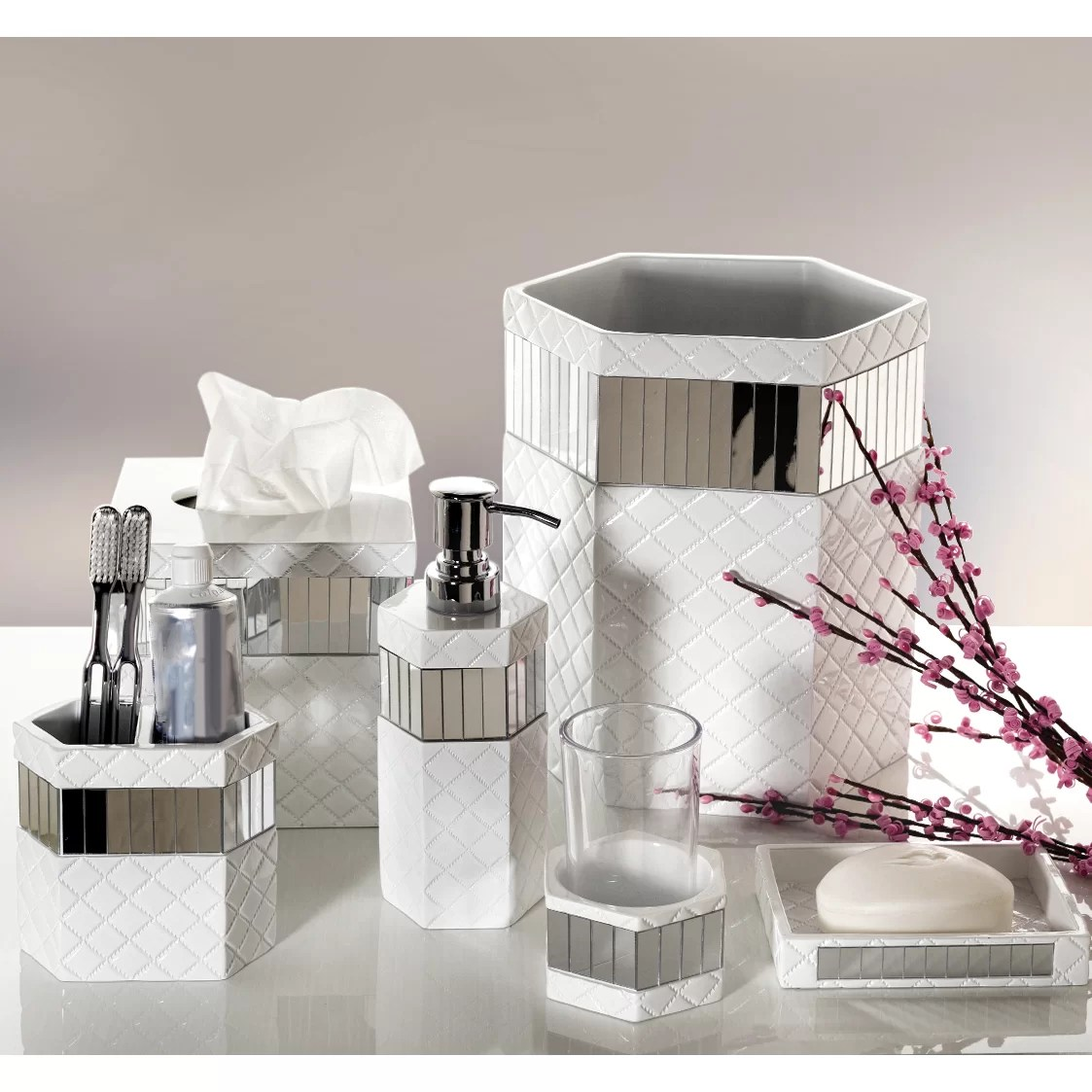 Mirrored Bathroom Accessories Sets Creative Scents Quilted Mirror 6 Piece Bathroom Accessory