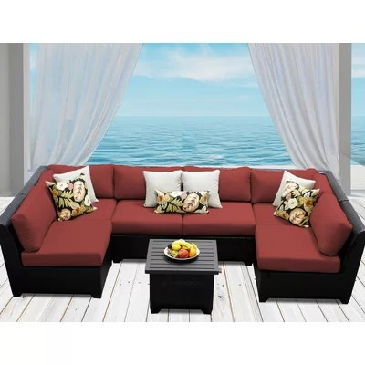 TK Classics Barbados 7 Piece Deep Seating Group with Cushion - 7 piece living room set