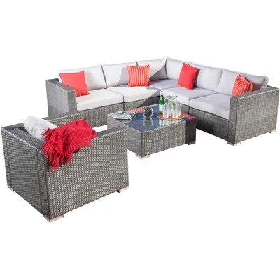 Brayden Studio Strawn 7 Piece Sectional Seating Group with - 7 piece living room set