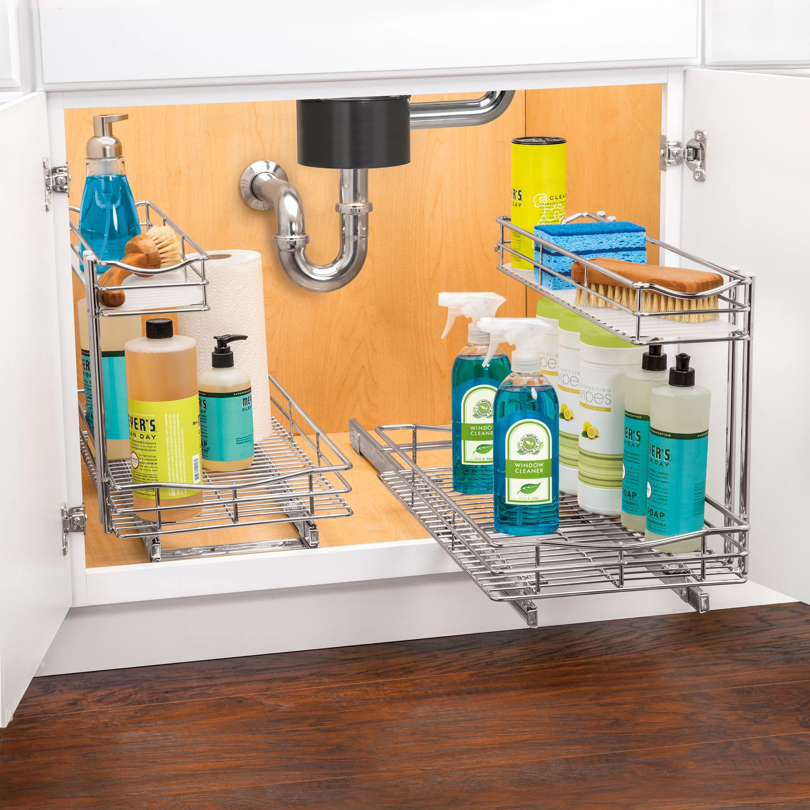 Well wreapped lynk professional roll out double shelf pull out two tier sliding under cabinet organizer chrome multiple sizes