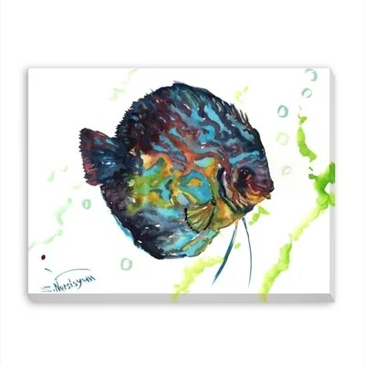 Discus Fish 2 Painting Print on Wrapped Canvas by Americanflat