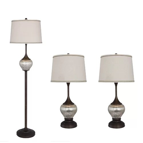 """Catalina Lighting Mercury Glass 12"""" H Table Lamp with Drum"""
