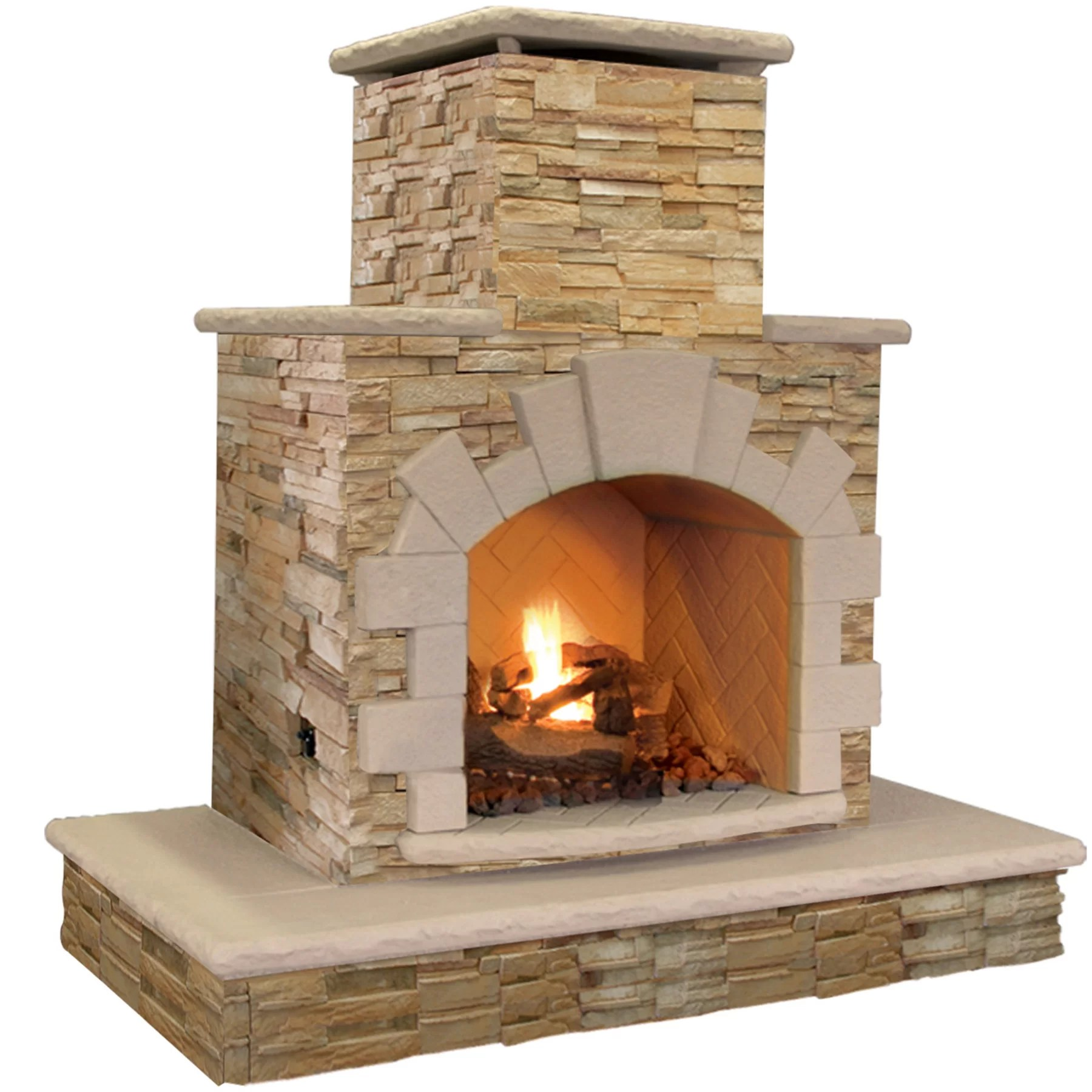 Feuerstelle Naturstein Natural Stone Propane / Gas Outdoor Fireplace | Wayfair