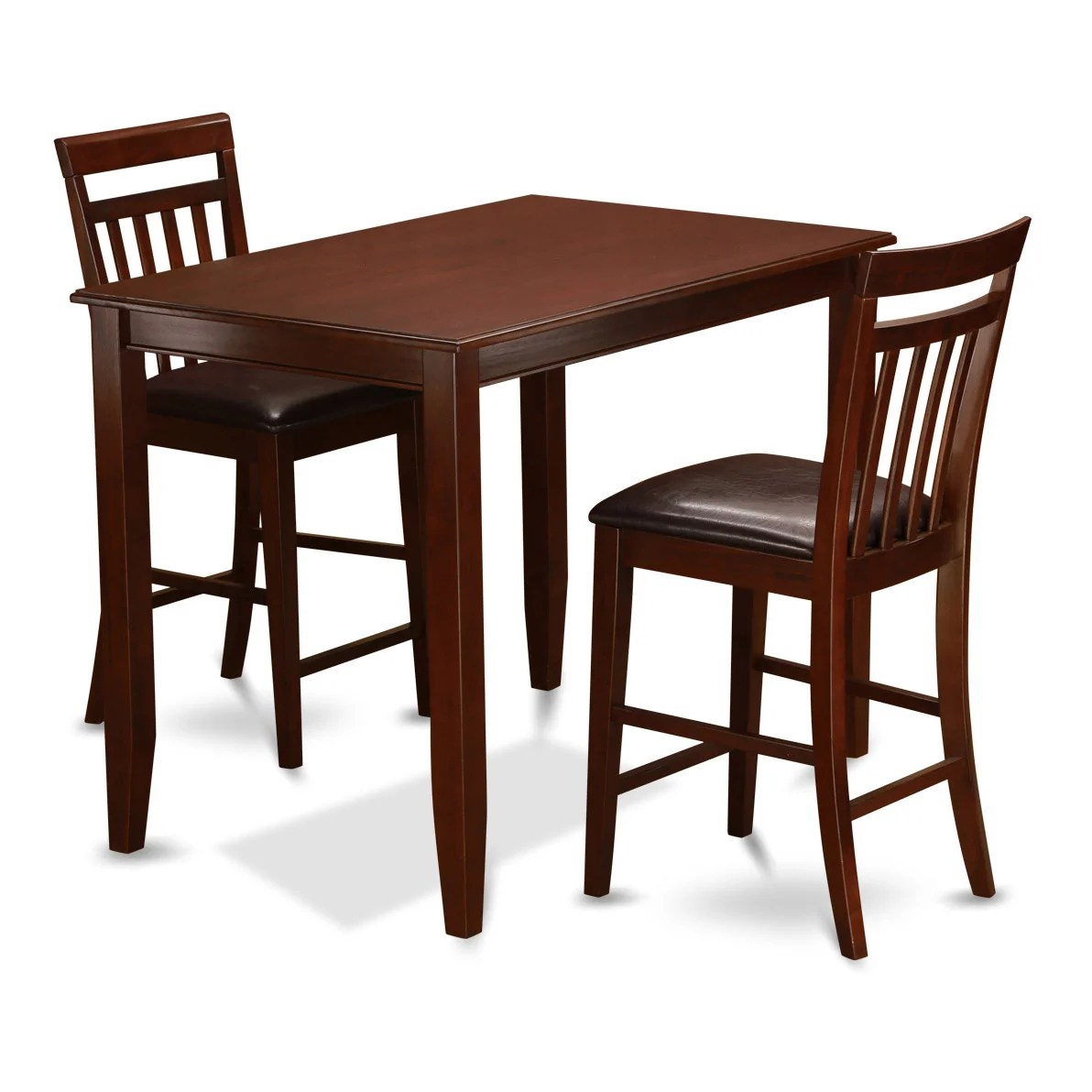 3 Pc Pub Table Set counter Height Table and 2 Faux Leather Kitchen Chairs BUEW3 MAH LC