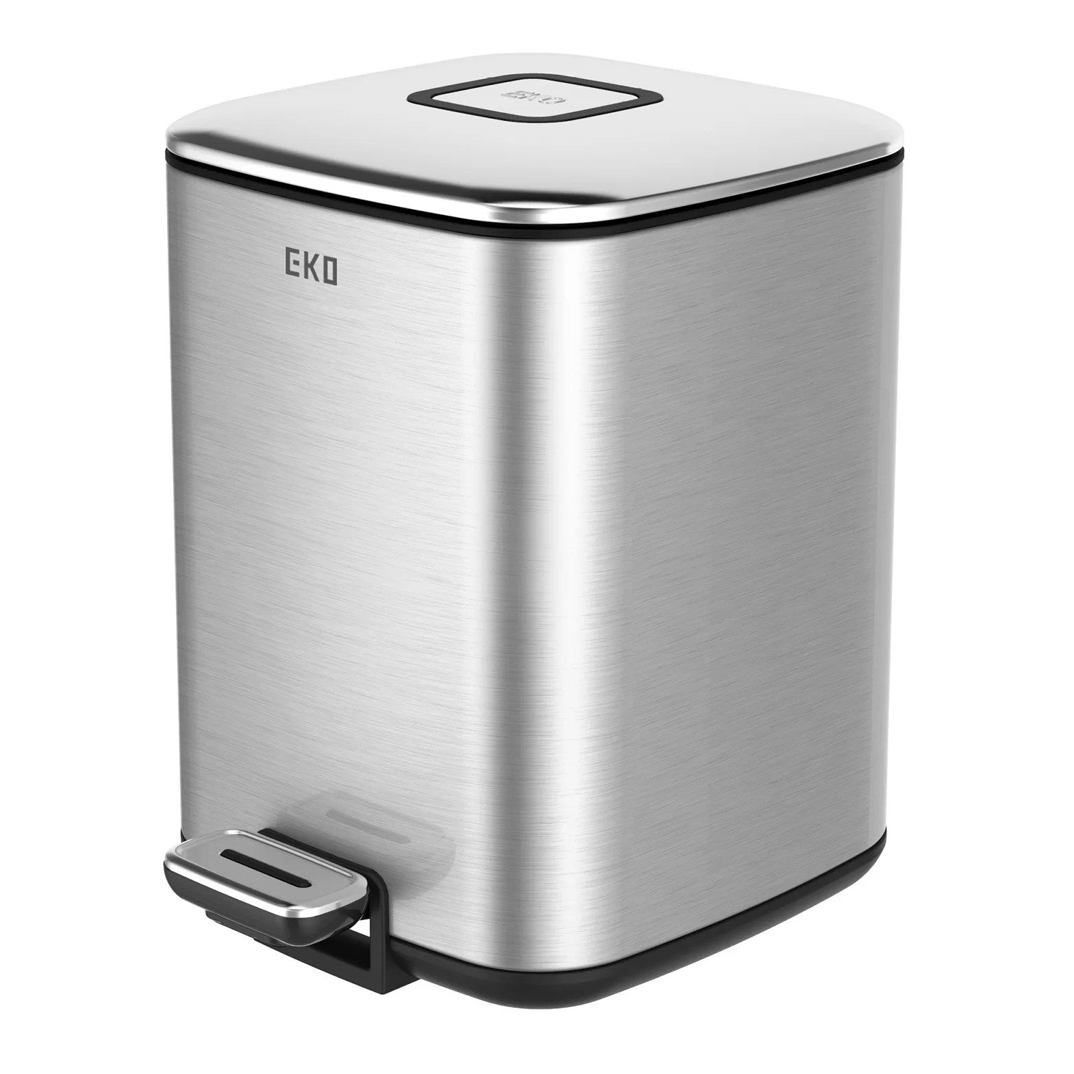 Stainless Steel Tall Kitchen Garbage Can Eko 1 5 Gal Square Metal Trash Can And Reviews Wayfair