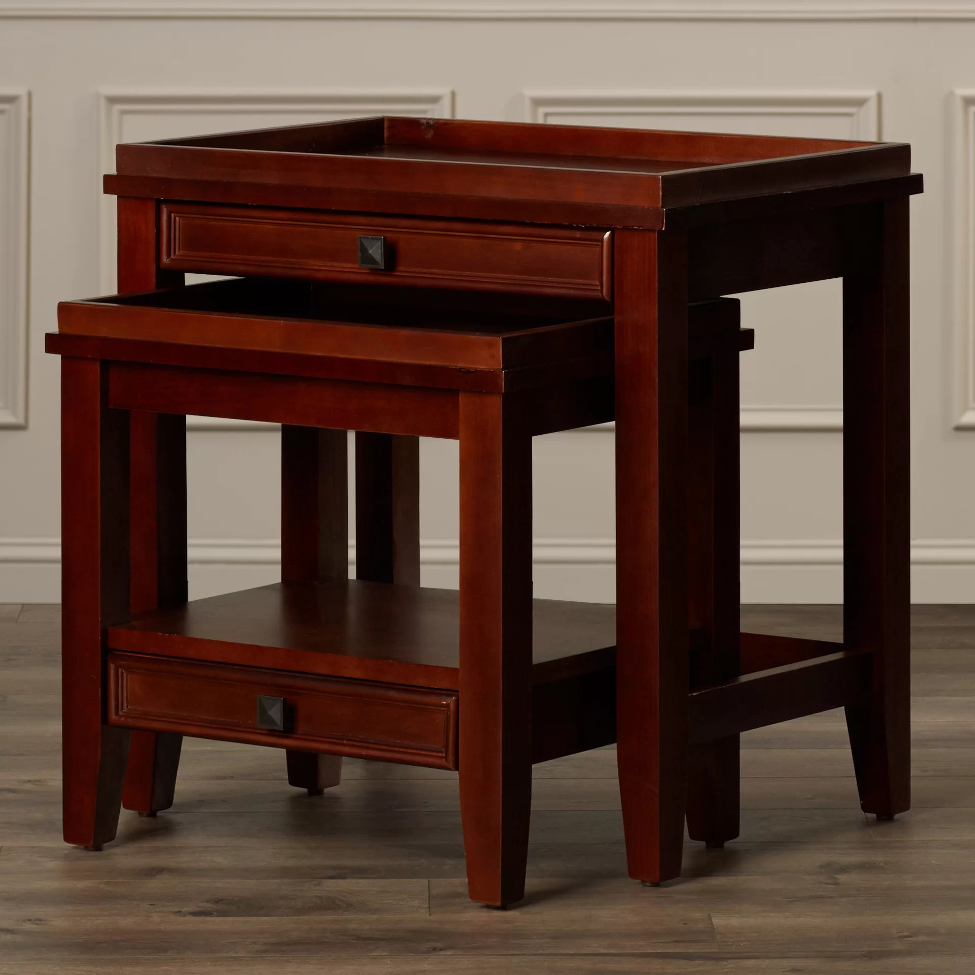 Charlton Home Alington 2 Piece Nesting Tables Reviews - Nesting End Tables