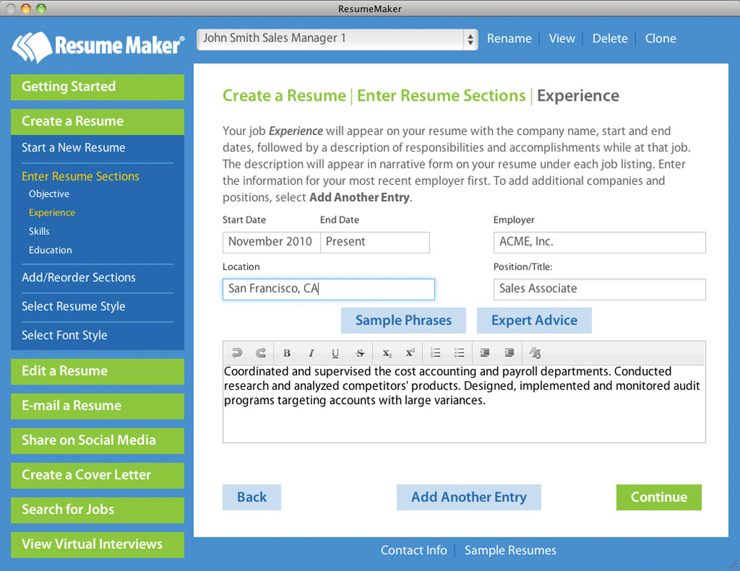 individual software resume maker professional