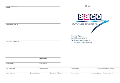 SACO Shipping GmbH NVOCC Services worldwide - Service - shipping bol
