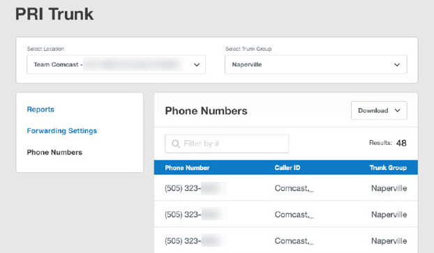 View your Comcast Business Trunks telephone numbers online Comcast