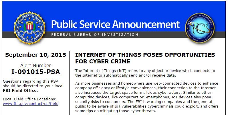 FBI IoT devices announcement
