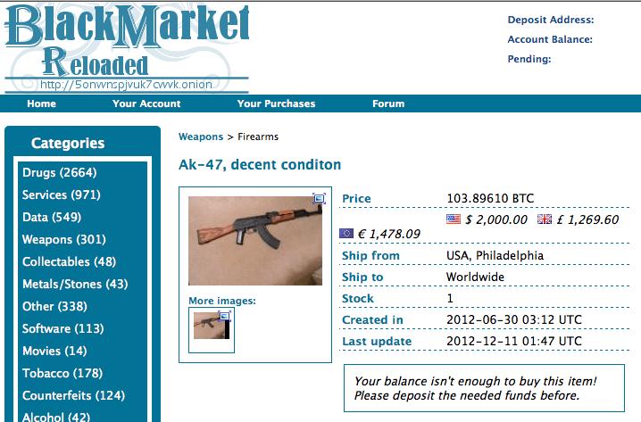 ak 47 dark web Black Market