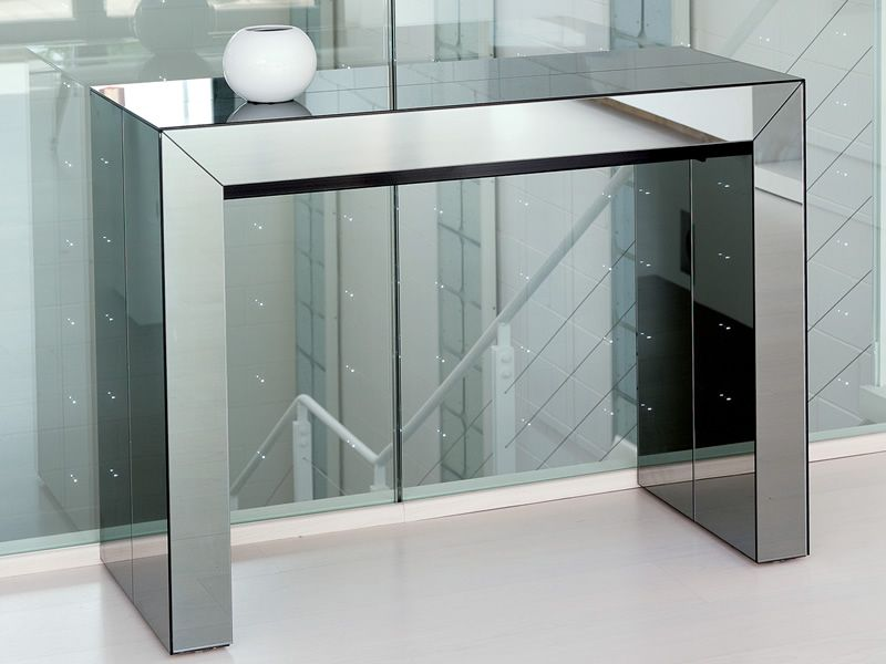 Konsole Metall Glass - Consolle In Mdf, 100 X 43 Cm, Allungabile