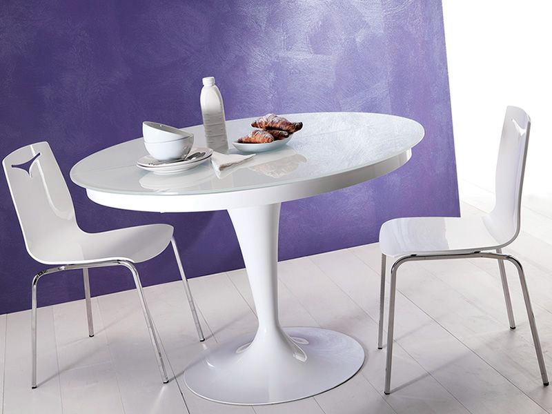 Table Ronde 80 Cm Eclipse: Round Table In Metal, Glass Top With 118 Cm