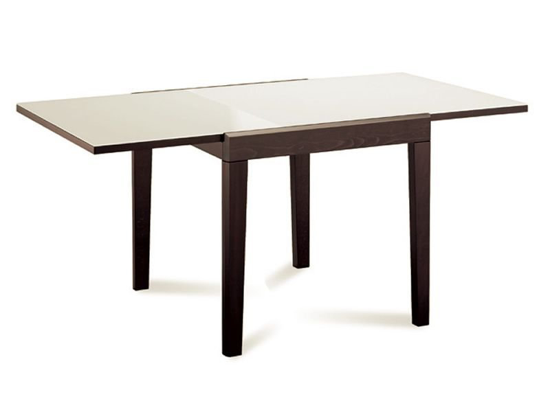 Table 140 Cm Extensible Asso-90: Domitalia Table In Wood, Glass Top 90x90 Cm
