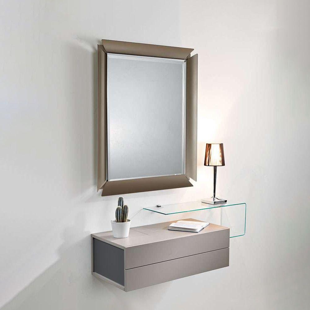 Mobili Entrata | Mobile D Entrata Con Specchio In Metallo Nero