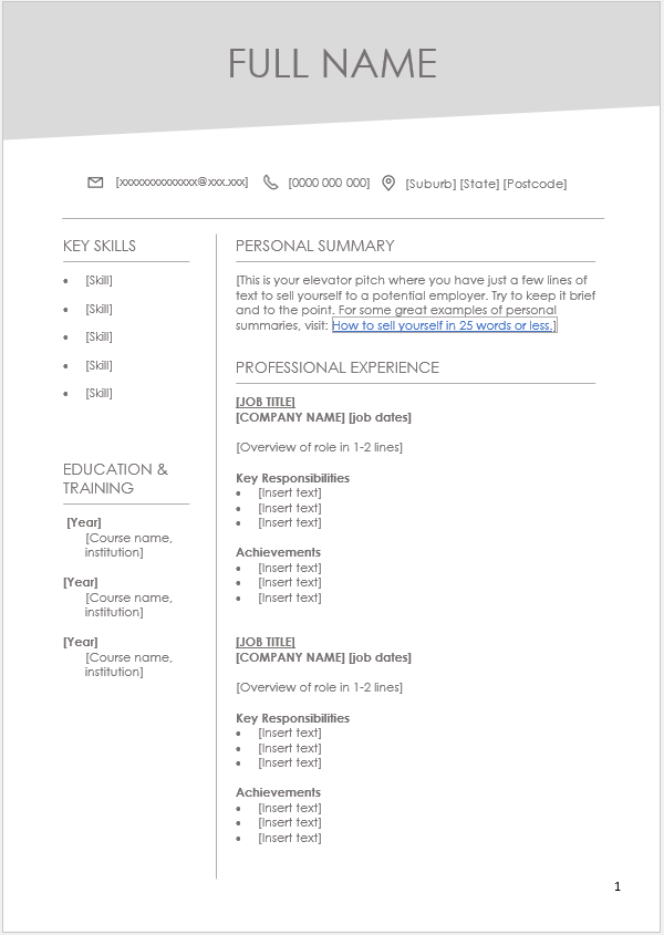 Resume Templates On Seek