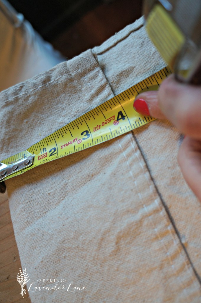 measuring hem on diy curtains