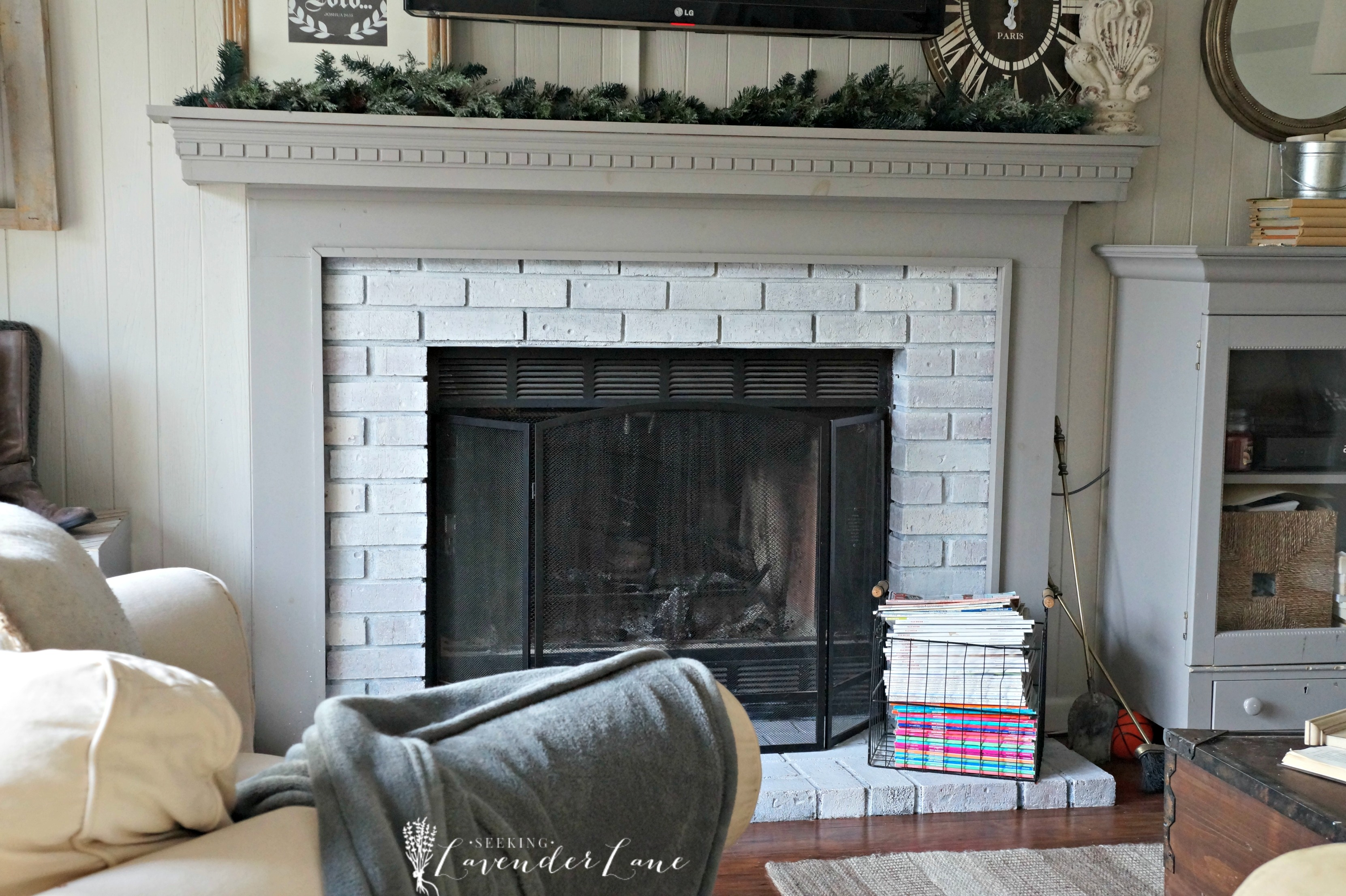 Whitewash Fireplace Before And After New Year New Room Challenge Re Whitewashing The Brick Fireplace