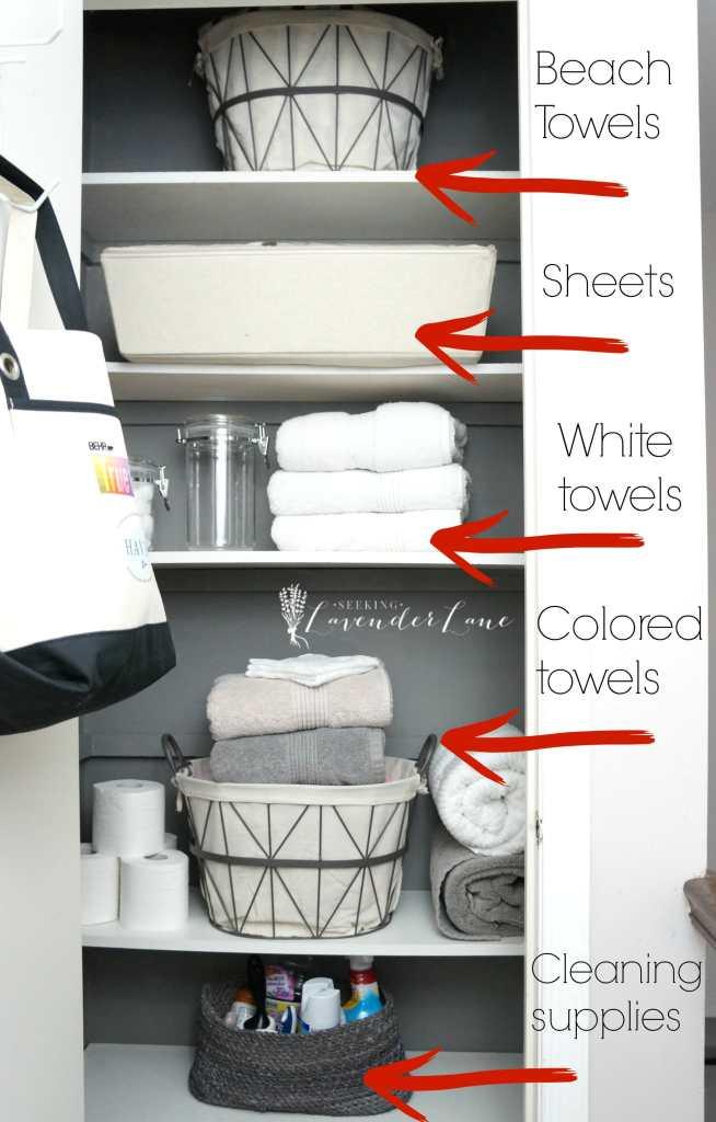 Organizing breakdown of linen closet