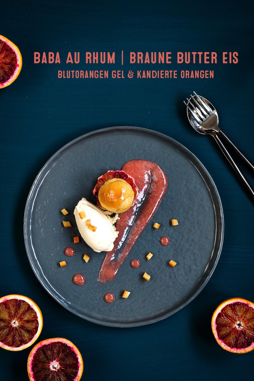 Baba au Rhum | braune Butter Eis | Blutorangen Gel | kandierte Orangen | seelenschmeichelei.de