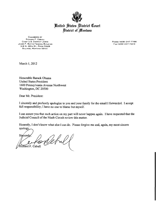 Montana judge sent dirty joke about Obama\u0027s mother because he - formal letter to a judge