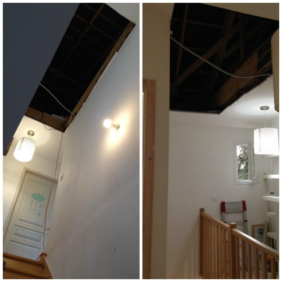 Première étape, ouvrir le plafond à l'endroit de la trémie pour permettre au plaquiste d'intervenir.