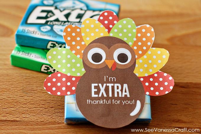 Thanksgiving Extra Thankful Turkey Printable Gift Tag - See Vanessa