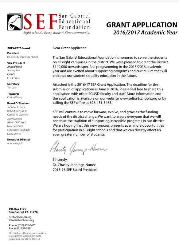 SEF Grant Application-2016 (for teachers and advisors) - San Gabriel
