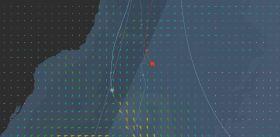 IDE segelt etwa 130 Meilen östlicher als Spindrift und näher am Hoch.
