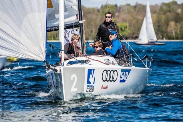 Martin Metzing mit seiner Crew vom Potsdamer Yacht-Club wird Dritter. © Jürgensen/DSBL