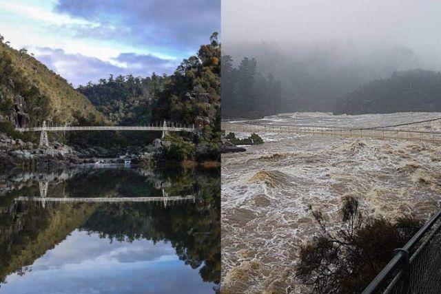 Vorher, nachher. Die Regenfälle haben das Gewässer in Tasmanien in einen Sturzbach verwandekt.