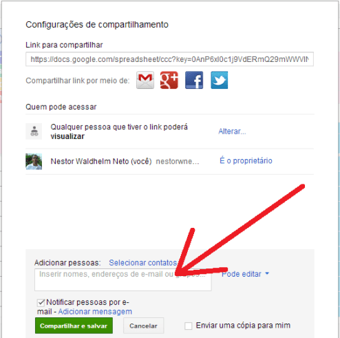 Compartilhar no Google Docs 3