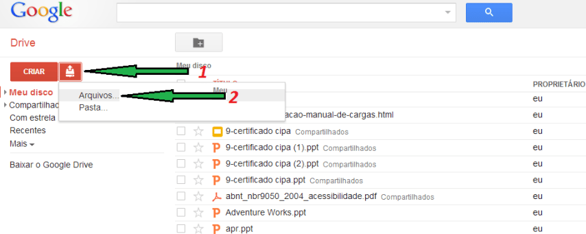 Compartilhar no Google Docs