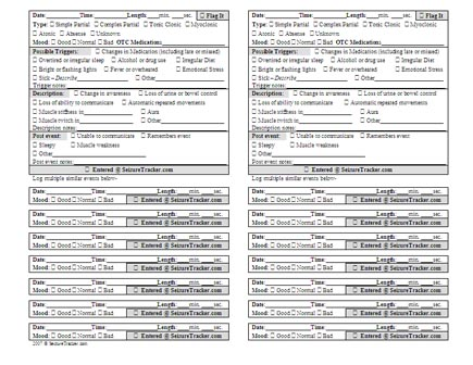 Seizure Tracker™ - Printable diaries mirror the form on the website